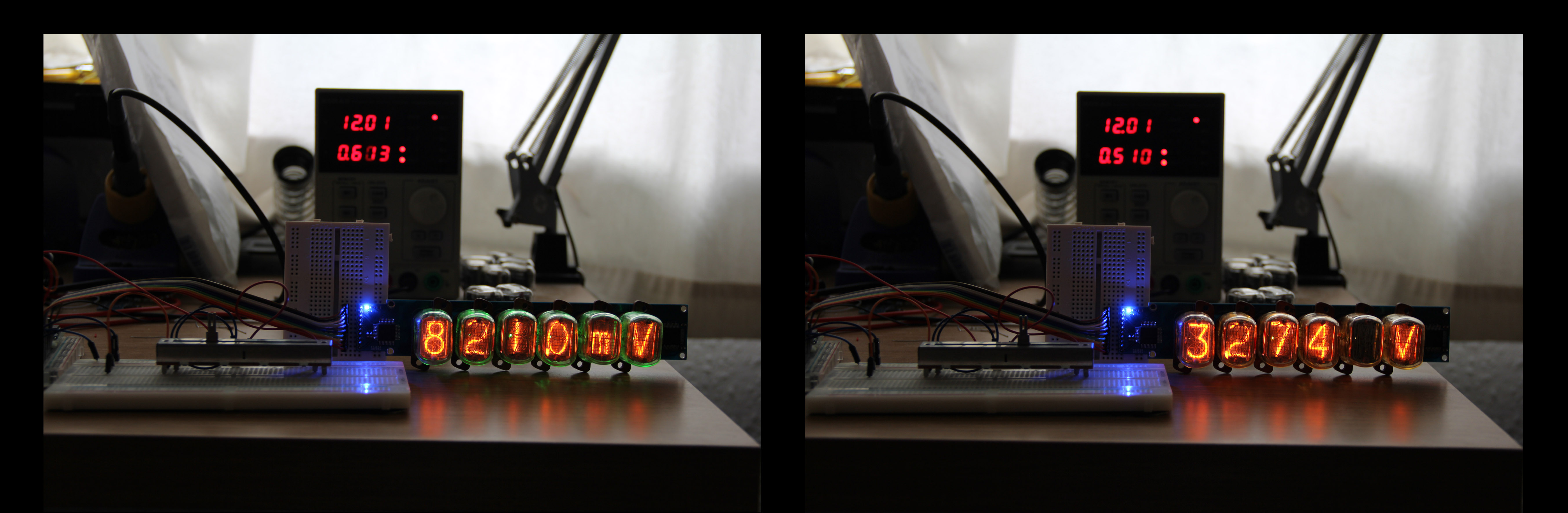 Nixie Tube Driver in use as a Voltmeter